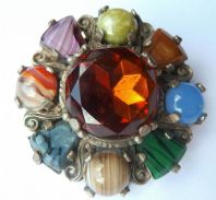 Vintage Scottish Cairngorm Style Shield Brooch By Miracle.